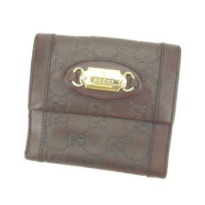 Gucci Wallet Purse Guccissima Brown Gold Woman Authentic Used